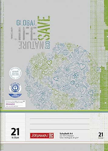 Brunnen 104412101 Recycling-Schulheft DIN A4 (16 Blatt, einfaches Heft)