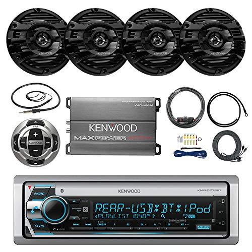 Pontoon Boat Audio Package: Kenwood Single Din Marine Bluetooth AM/FM CD MP3 USB AUX LCD Display Receiver w/Built-in Amplifier, 4X 2-Way 150 Watt 6.5