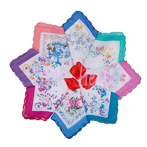Star Heaven Soft Cotton Vintage Handkerchiefs Bulk Wedding Hankies for Ladies (12 pcs)