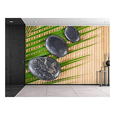 Unbelievable Piece, Classic Artwork, Rocks on a Palm Leaf Over a Bamboo Mat Wall Mural