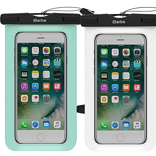 3 Pack Waterproof Case,iBarbe Universal Cell Phone Plasic TPU Dry Bag for iPhone 7 7 plus 6S 6/6S Plus 5/S/SE 5C samsung galaxy Note 5 s8 s8 plus S 8 S7 S6 Edge s5 etc.to 5.7 inch,Black+Tea+Rose