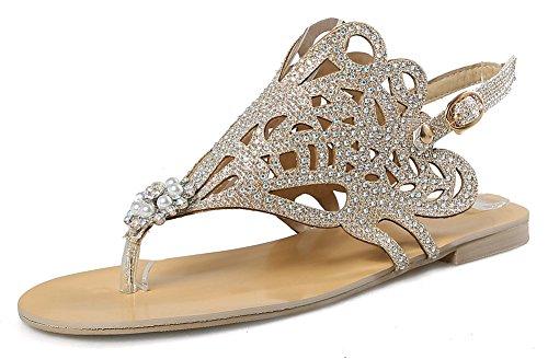 Mode Plage Strass Métal Toe Or Aisun Fille Clip Sandales de Femme Chaussures xZwy7U