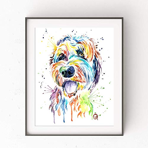 Goldendoodle Wall Art by Whitehouse Art | Golden Doodle Dad, Bedroom Decor, Dog Mom Gifts, Dog Decor| Professional Art Print of Goldendoodle Original Watercolor Painting | Dog Memorial Gift | 2 Sizes
