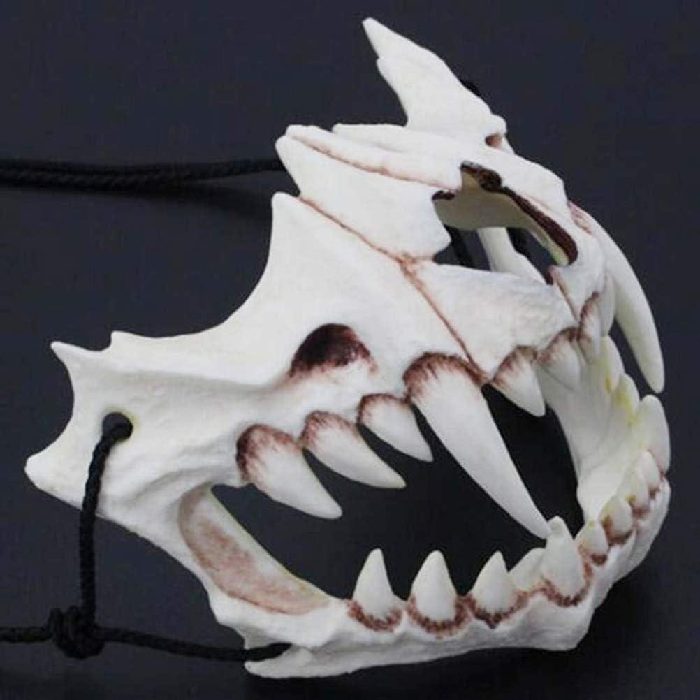 Giapponese a Forma di Drago di Dio Maschera a Tema Adulto met/à Viso Maschera per Halloween Maschera in Resina Cosplay di Halloween Maschera JPYH Halloween Animale Scheletro di Mezzo Animale