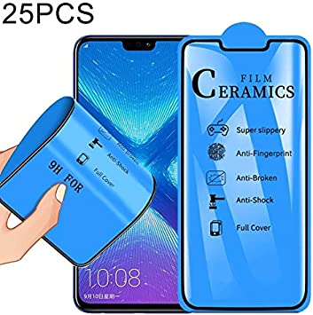 Black JIANGNIUS Screen Protector 25 PCS for Galaxy M20 Anti-Glare Full Screen Tempered Glass Film Color : Black