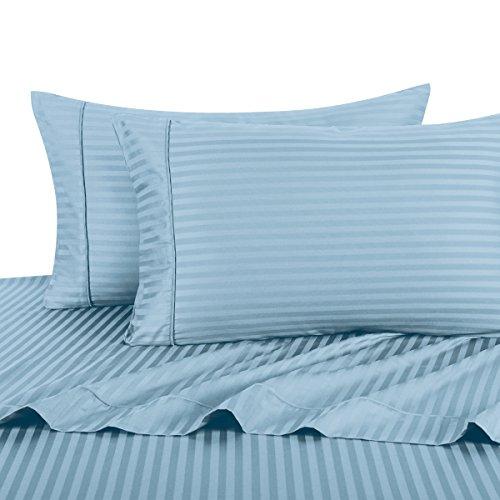 Water blue flat Sheet set 100% Cotton bedding bedsheet - 2