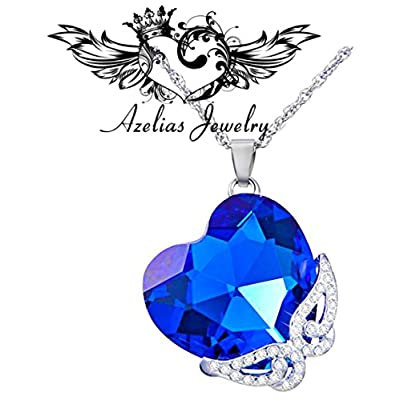 discount Blue Heart Pendant Necklace Platinum Plated Gifts For Women, Jewelry with a Luxury Gift Bag for Easy Gift Giving Womans Necklace Birthdays Gifts For Women Gifts For Girls