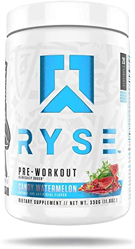 RYSE PRE WORKOUT Ryse Up Supplements Fuel Your Greatness Energy, Endurance, Focus, Next Level Pump, Citruline, Taurine, Arginine, CarnoSyn Beta Alanine, 20 Servings Candy Watermelon