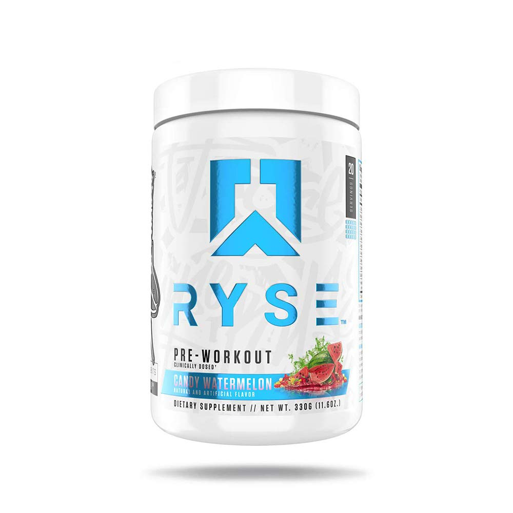 Ryse Pre Workout Candy Watermelon Energy, Endurance, Next Level Pump, Citruline, Taurine, Arginine, CarnoSyn® Beta Alanine, 20 Servings (Watermelon)