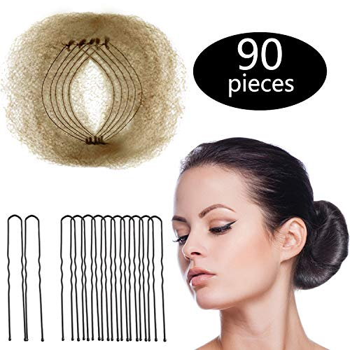 Hair Nets Invisible Elastic Edge Mesh and U Shaped Pins Set, 50 Pieces 50cm Individual Package Invisible Hair Nets, 40 Pieces U Shaped Pins for Women Bun (Light Linen)