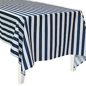 Superbe Polyester Navy Striped Rectangle Table Cover