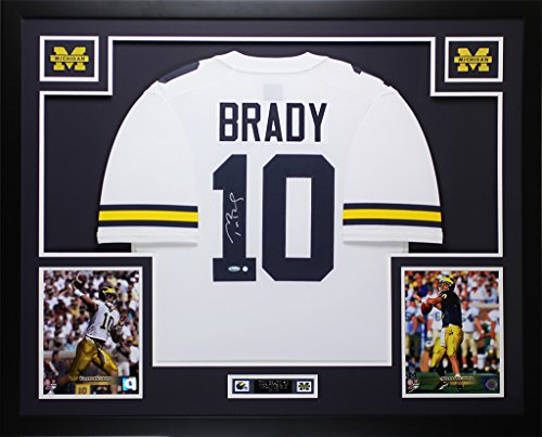 Tom Brady Authentic White Jersey - Tom Brady Autographed White Michigan Jersey - Beautifully Matted and Framed - Hand Signed By Tom Brady and Certified Authentic by Tristar - Includes Certificate of Authenticity
