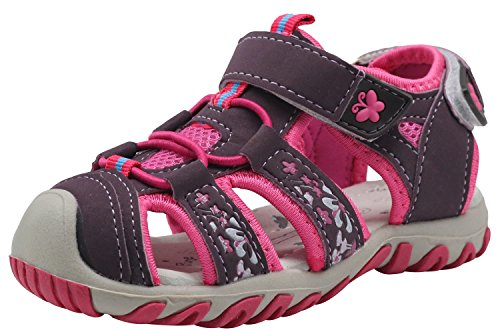 Apakowa Kids Girls Soft Sole Closed Toe Sandals Summer Shoes with Arch Support (Toddler/Little Kid) (Color : Y607PURPLE, Size : 10 M US Toddler)