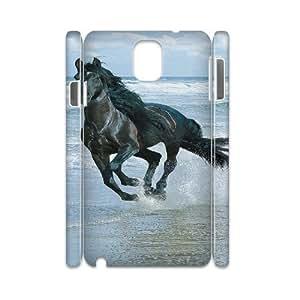 3D Okaycosama Funny Samsung Galaxy Note 3 Case Black Horse for Boys, Samsung Galaxy Note 3 Case for Women, [White]