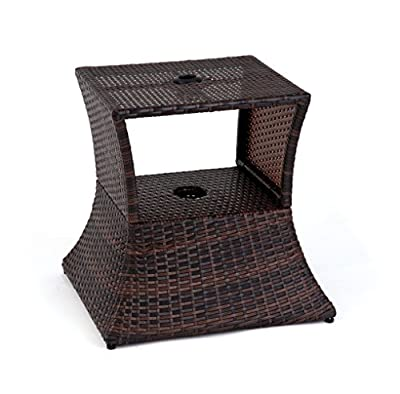 "Trademark Innovations 17"" Square PE Rattan Umbrella Stand & Side Table by"