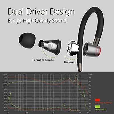 Avantree Hi-Fi Dual Driver Bluetooth In ear Monitors / Earbuds with Mic and Adjustable Ear Hook, Wireless Noise-Isolating Headphones Earphones - Clari Air