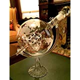 Denizli Spirits 25 Oz Handmade Vodka or Liquor Etched Globe Decanter Set with Wooden Stand and Bar Funnel (Glass Stand + Ship)