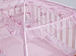 CdyBox Zippered Baby Toddler Nursery Crib Bed Canopy Mongolia Pack Foldable Mosquito Net Tent with Stand (Pink)