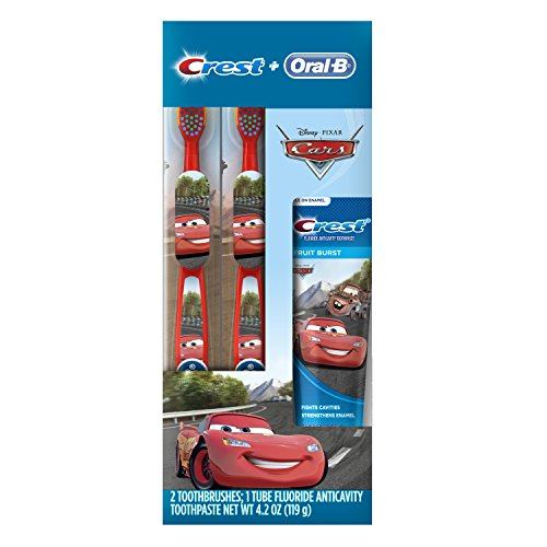 Oral-B and Crest Kids Holiday Pack Featuring Disney & Pixar's Cars, Kids Fluoride Anticavity Toothpaste and Two Toothbrushes