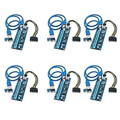 Feb Smart PCI Express Riser PCI Express Bit Coin Mining Adapter PCIe 1x to 16x Card with USB 3.0 23.6in Extension Cable and SATA to 6Pin Power Cable-Graphic Card Crypto Currency Mining(6 Pack)