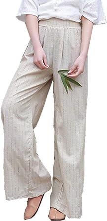Mujer Pantalones Anchos Vintage Fashion Flecos Pantalon Lino Verano Elegantes Anchas Cintura Alta Basic Ropa Pantalones De Tela Pantalones De Tiempo Libre Pantalones Palazzo Ropa Amazon Es Ropa Y Accesorios