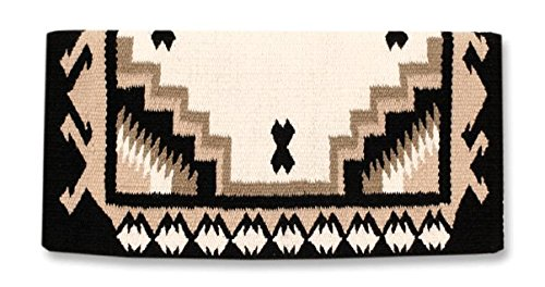 Contour Saddle Blanket - Mayatex Haymaker Saddle Blanket, Black/Cream/Taupe, 38 x 34-Inch