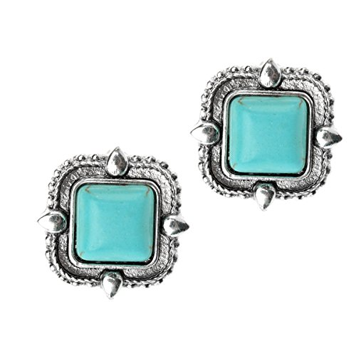 Qise Womens Vintage Square Turquoise Stud Earrings