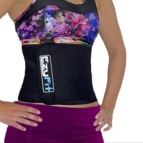 EzyFit Waist Trimmer - Premium Weight Loss Exercise Ab Belt - Back Posture Support - Stomach Sweat Wrap -...