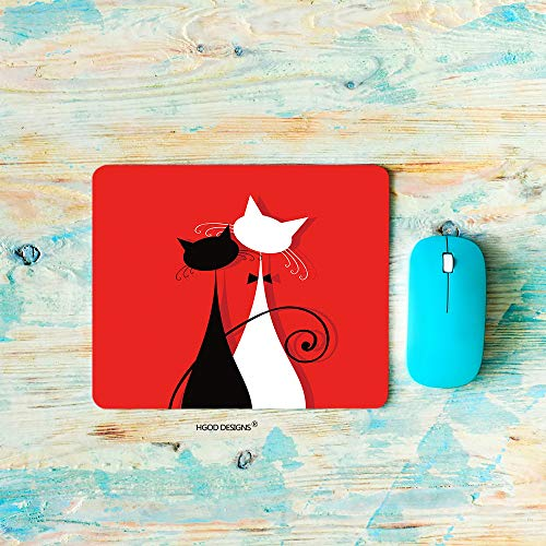 HGOD DESIGNS Gaming Mouse Pad Cat,Wedding Dress Lover Cats Valentine's Day Theme Mousepad Rectangle Non-Slip Rubber Mouse Pads(7.9