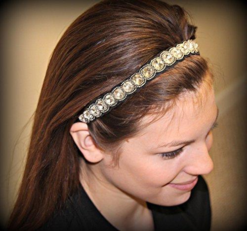 ANGELICA - Regalia Beaded Rhinestone Stretch No Slip Headband (Hair Jewelry)