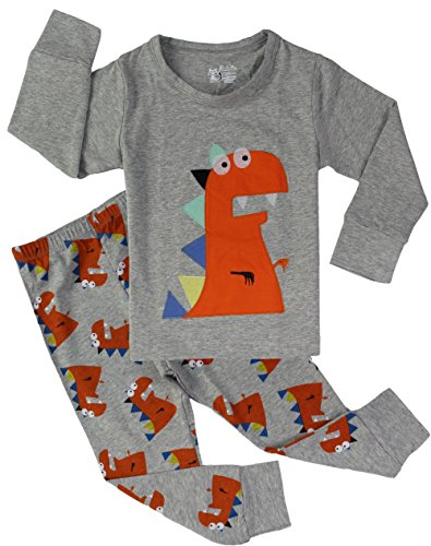 Boys Pajamas Dinosaur 100% Cotton 2 Piece Kids Sleepwear Toddler Clothes Pants Set by PHOEBE CAT
