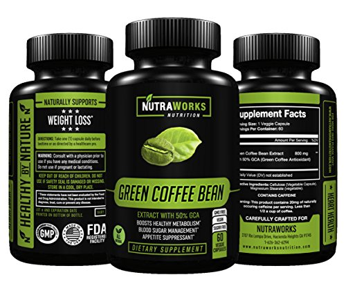 Green Coffee Bean Extract with 50% GCA 800mg - 100% Pure with Antioxidants - 100% All Natural Weight Loss Supplement, Maintains Normal Blood Sugar Levels, Non-GMO, Gluten-Free - 60 Veggie Capsules