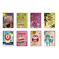 Assorted 8 Pack Handmade Embellished Birthday Greeting Cards Boxed Set of 8 Designs for Kids, Boys & Girls. Assortment Deisgn of Cake, Robot, Monkey, Butterfly, Owl, Lion