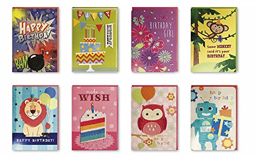 Assorted 8 Pack Handmade Embellished Birthday Greeting Cards Boxed Set of 8 Designs for Kids, Boys & Girls. Assortment Deisgn of Cake, Robot, Monkey, Butterfly, Owl, Lion (Bday Monkey)