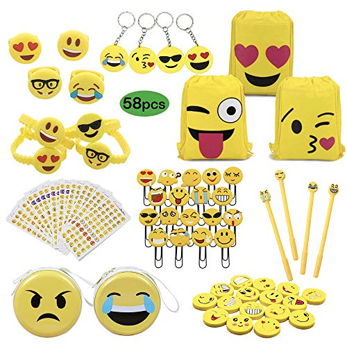 (Party Favors Supplies for Kids Children, Student Learning Stationery Gift Set, Emoji Drawstring Bag Backpack, Bookmarks, Coin Purses, Writing Pens, Stickers, Eraser, Keychains, Rings, Bracelet 58 PCS)