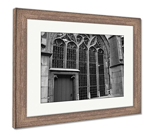 Abbey Stained Glass Print - Ashley Framed Prints Middelburg The Netherland Abbey Stained Glass Red Door, Wall Art Home Decoration, Black/White, 34x40 (frame size), Rustic Barn Wood Frame, AG6091615