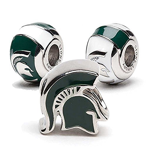 Michigan State Charms | Michigan State Spartan Helmet and 2 Bead Charms | Officially Licensed Michigan State University Jewelry | MSU Gifts | Michigan State Jewelry | Stainless Steel