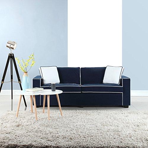 "Modern 79"" Inch Two Tone Colorful Velvet Fabric Living Room Sofa (Blue)"