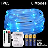 HONGM 120LED 41ft Rope String Lights Battery Operated String Lights 8 Modes Waterproof Firefly Lights with Remote Timer for Outdoor, Indoor, Garden, Party, Christmas Tree, Wedding (120LED, Blue)