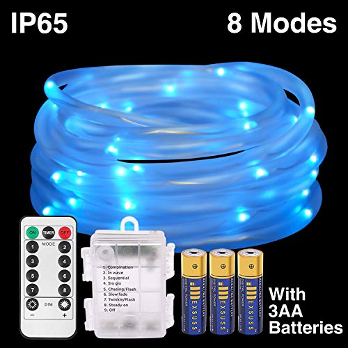 HONGM 120LED 41ft Rope String Lights Battery Operated String Lights 8 Modes Waterproof Firefly Lights with Remote Timer for Outdoor, Indoor, Garden, Party, Christmas Tree, Wedding (120LED, Blue) by HONGM
