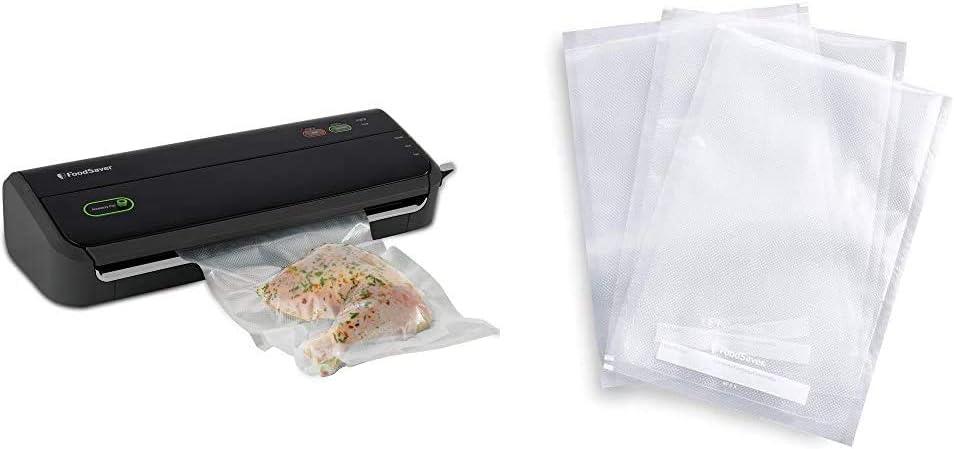 FoodSaver FM2000 Vacuum Sealer Machine with Starter Bags & Rolls   Black & FSFSBF0226-FFP 1-Quart Precut Heat-Seal Bags, 44 Count, Frustration-Free-Packaging