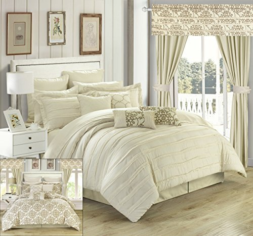Chic Home 24 Piece Hailee Complete Pleated Ruffles and Reversible Printed Bed in a Bag Comforter Set with Window Treatment, King, Beige