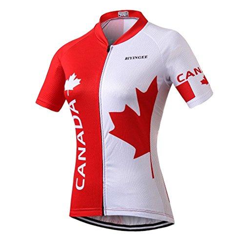 BIYINGEE Women's Cycling Jersey Short Sleeve Sweat Wicking Canada Leaves Size M