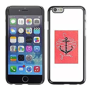 Cubierta de la caja de protección la piel dura para el Apple iPhone 6 (4.7) - t'aime love pink white anchor quote