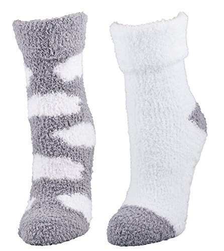 - Kissables Lavender Capsule Infused Fluffy Chenille Socks - 2 Pair Pack (Grey Clouds)