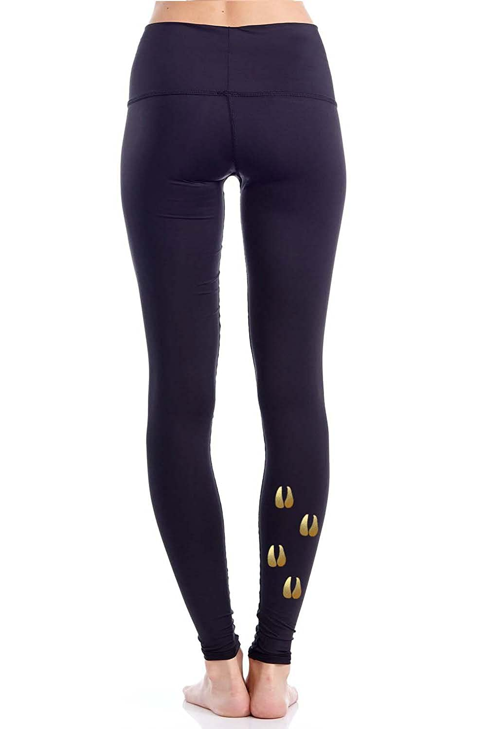 Printed Fitted Stretch Tights M S Yoga Legging Evolve Womens Active Workout Gold Goat XS L
