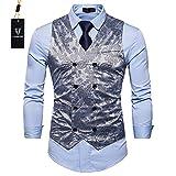 Cyparissus Mens Business Suit Vest Waistcoat Men's Dress Vest or Tuxedo Vest (L, Light Gray)