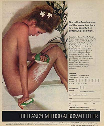 Beautify buttocks hips & thighs Elancyl Method ad 1977 nude model