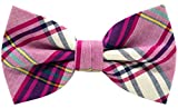 two color ties - Carahere Mens 100% Cotton Color Plaid Adjustable Pre-Tied Bow Ties M134-2