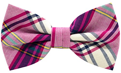Carahere Mens 100% Cotton Color Plaid Adjustable Pre-Tied Bow Ties M134-2